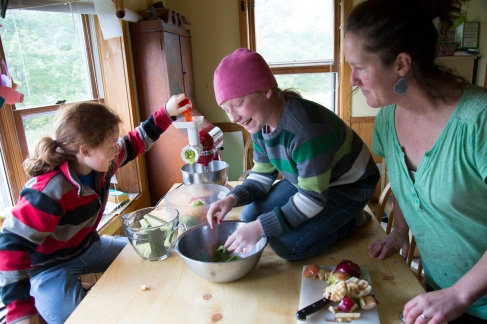 COVENTRY, VERMONT -- SPETEMBER 25, 2015: At the home of Meg and Chad Thompson with their six children: Teddy (baby boy) Tulli (baby boy) Priscilla (Girl, 8 years) Charlie (boy, 10 Years) Frankie (girl, 11 Years) The Thompson family goes in and out of relying on assistance for food - currently gets WIC benefits, have been on and off SNAP benefits over the last few years and utilize many of the fod programs offered by Green Mountain Farm to School. Charlie, the second oldest loves to hunt - when I asked him what he likes about it he said he liked being able to get his own food. The father, Chad said that he and Meg love to sit down for a meal with their whole family and evaluate how much of the food they sourced themsleves, from their land - makes them proud.