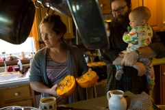 COVENTRY, VERMONT -- SPETEMBER 27, 2015: At the home of Meg and Chad Thompson with their six children: Teddy (baby boy) Tulli (baby boy) Priscilla (Girl, 8 years) Charlie (boy, 10 Years) Frankie (girl, 11 Years) The Thompson family goes in and out of relying on assistance for food - currently gets WIC benefits, have been on and off SNAP benefits over the last few years and utilize many of the fod programs offered by Green Mountain Farm to School. Charlie, the second oldest loves to hunt - when I asked him what he likes about it he said he liked being able to get his own food. The father, Chad said that he and Meg love to sit down for a meal with their whole family and evaluate how much of the food they sourced themsleves, from their land - makes them proud.