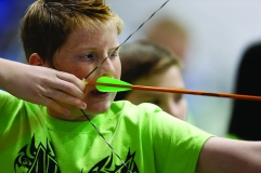Archer Evan Breedlove takes aim in the first round of the On Target with Kiwanis Archery Shoot on Saturday, Nov. 9, 2013 in Lawton, Okla. Photo by Steve Sisney