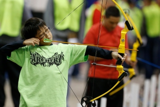 Sixth grader Choong Jae Lee competes in the On Target with Kiwanis Archery Shoot on Saturday, Nov. 9, 2013 in Lawton, Okla. Photo by Steve Sisney