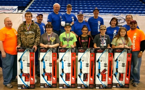 Top competitors in each division receive a new bow during the On Target with Kiwanis Archery Shoot on Saturday, Nov. 9, 2013 in Lawton, Okla. Photo by Steve Sisney