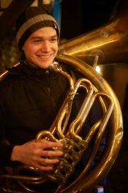 Impressions from the the Christmas-Market in Erbach: Florian is playing christmas songs.