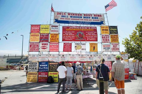 People enjoy the day at the Cheyenne Kiwanis Rib Fest Sunday, Aug. 16, 2015, in Cheyenne, WY. The festival included a rib competition, car show, and live music.