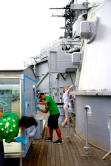 HONOLULU, HI - SATURDAY, APRIL 30: During a clean up by the Hawaii chapters of Kiwanis International aboard the USS Missouri at the World War II Valor in the Pacific National Monument at Pearl Harbor on April 30, 2016 in Honolulu, Hawaii.