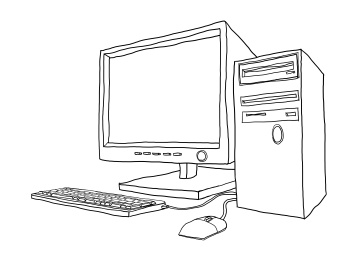 desktop computer hand drawn line art painting cute illustration2