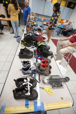 Shoes are organized by size for the arrival of Fairglen Elementary students on Thursday, November 10, 2016.