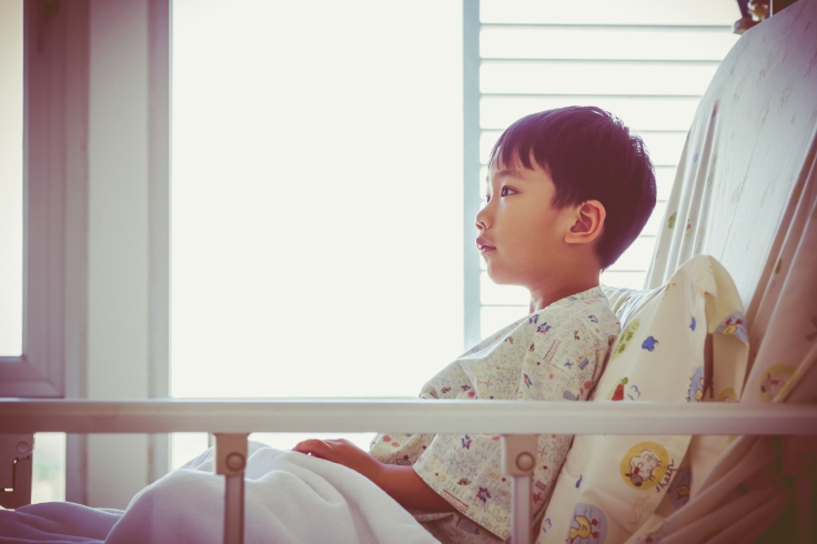 Asian child admitted at hospital.