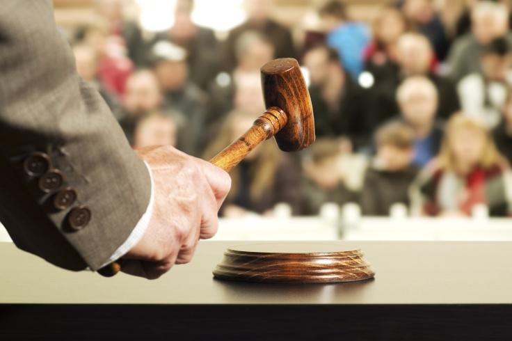 auction  bid sale judgment mallet with judge and public , selective focus