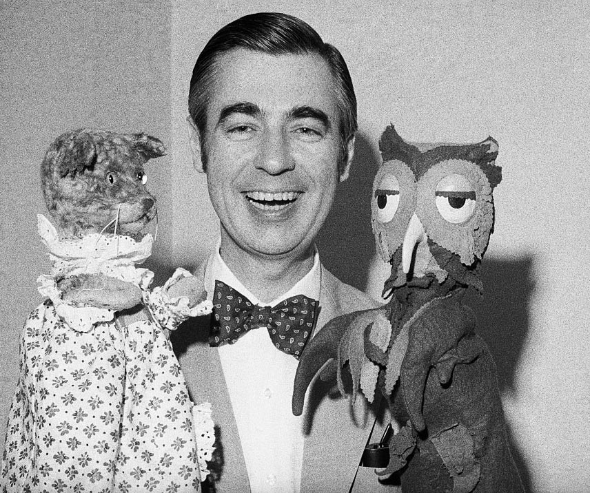 Mister Rogers with Owl and Cat Puppets