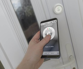 Using a smartphone to open an electronic lock on a front door