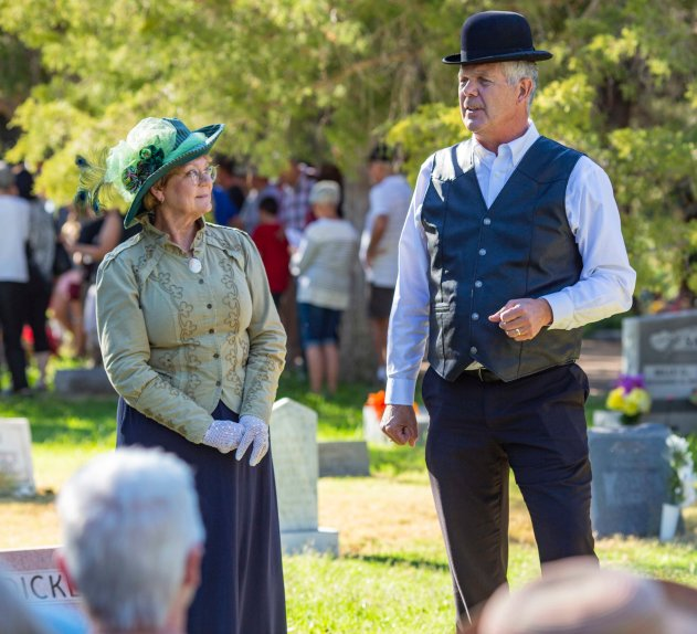 Husband and wife team, Eugene and Wendy Schmidt, play Alfred and Lucy Stump, early pioneers of Farmington, New Mexico.