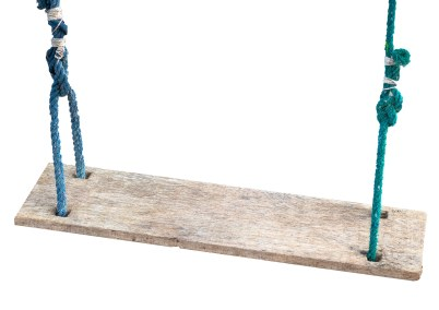 Wooden swing in the park isolated on white background , clipping