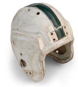 Old leather style football helmet on a white background