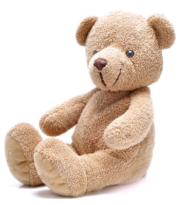 Brown teddy bear sitting on white background.